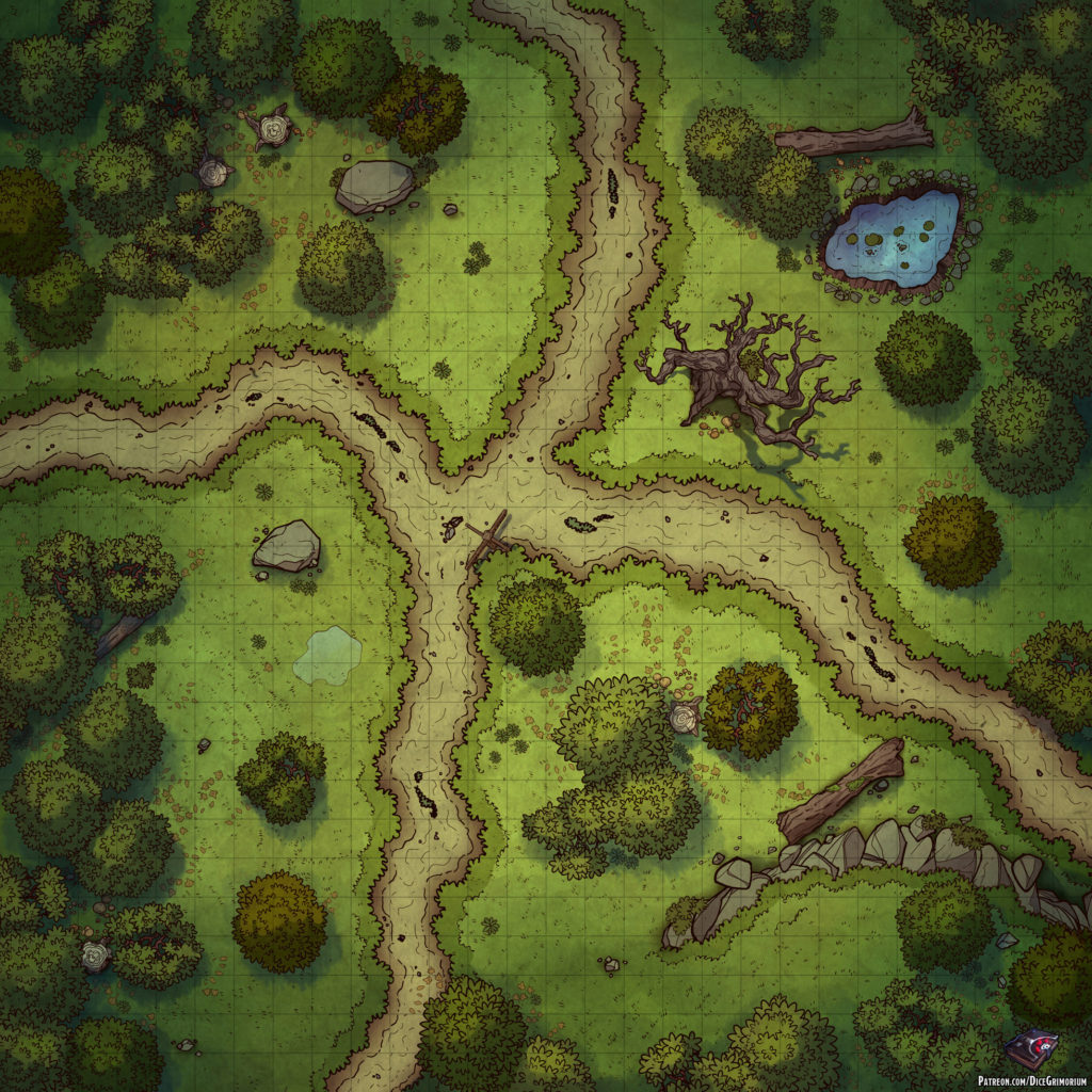 Forest Crossroads D&D Battle Map