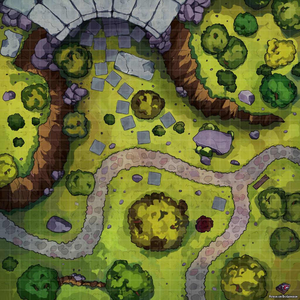 Dungeon Entrance D&D Battle Map