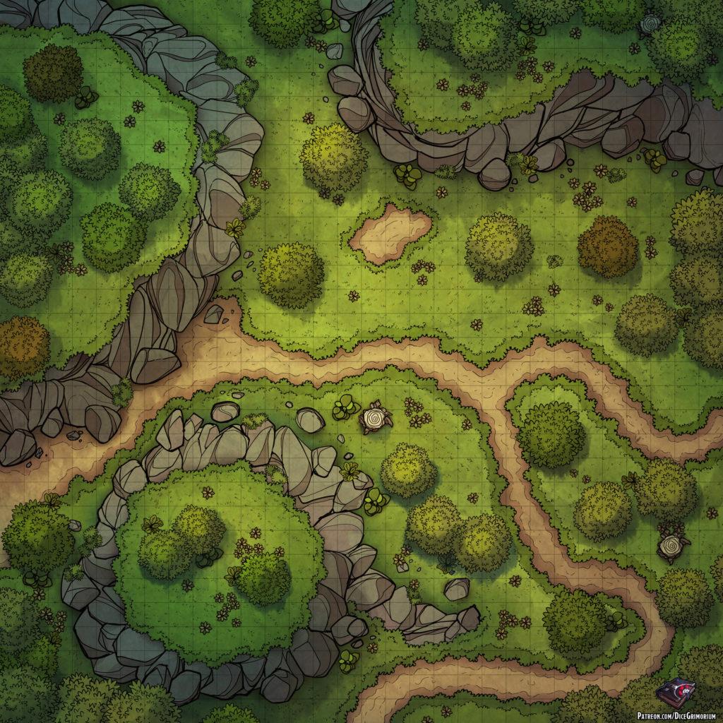 Forest Path D&D Battle Map
