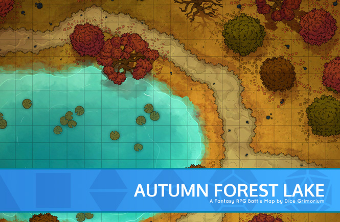 Autumn Forest Lake Battle Map Banner