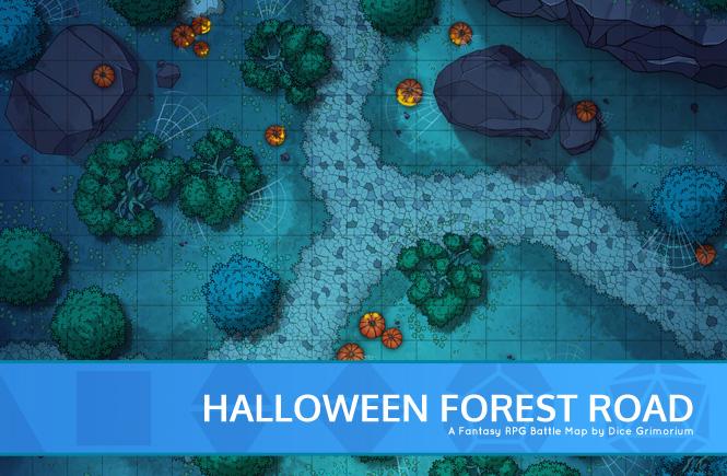 Halloween Forest Road Battle Map Banner