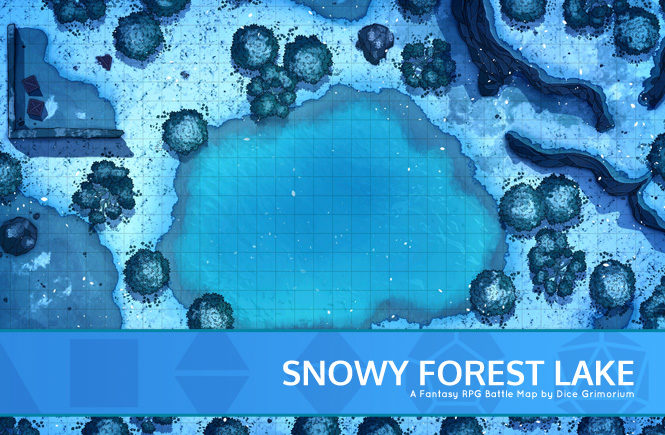 Snowy Forest Lake Battle Map Banner