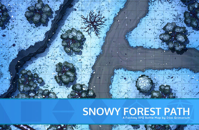 Snowy Forest Path Batthe Map Banner