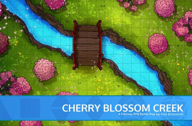 Cherry Blossom Creek Forest Battle Map Banner