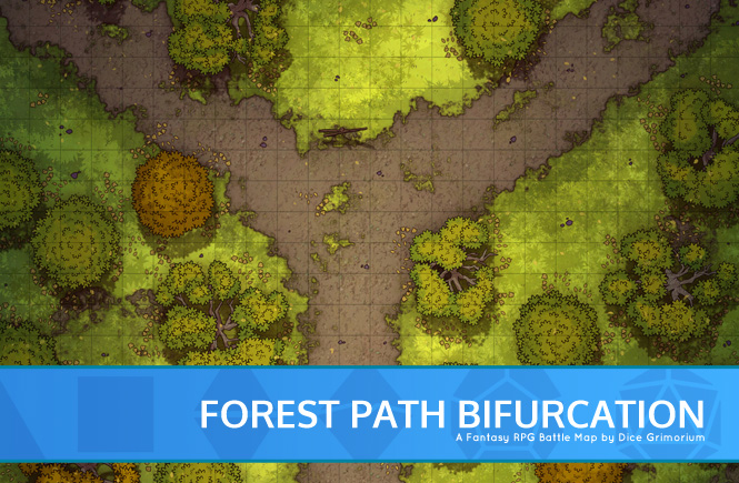 Forest Path Bifurcation Battle Map Banner