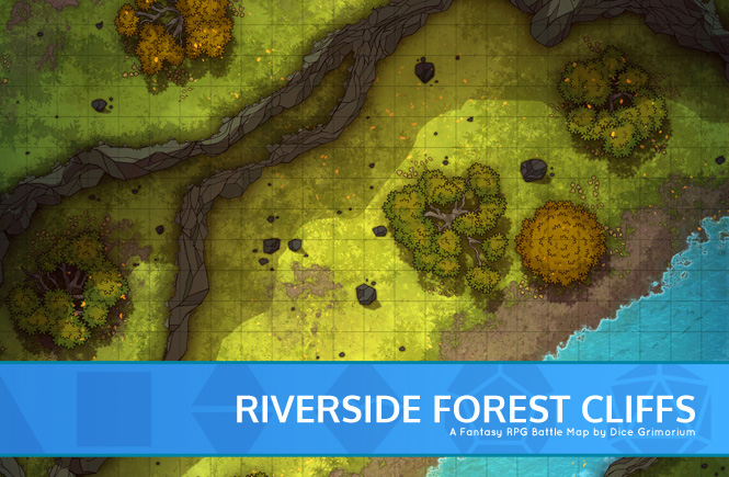 Riverside Forest Cliffs Battle Map Banner