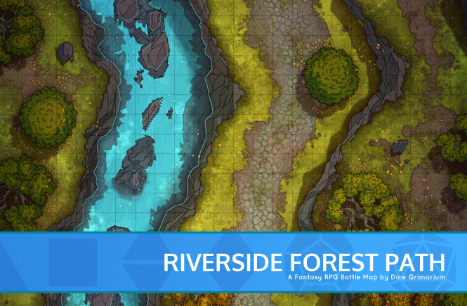 Riverside Forest Path Battle Map Banner