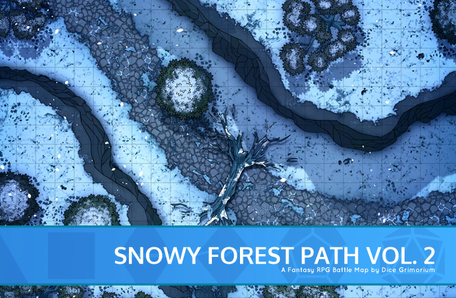 Snowy Forest Path Battle Map Banner