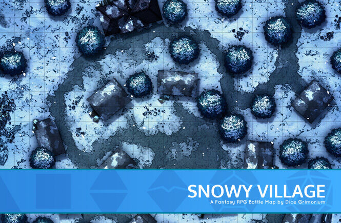 Snowy Village Battle Map Banner