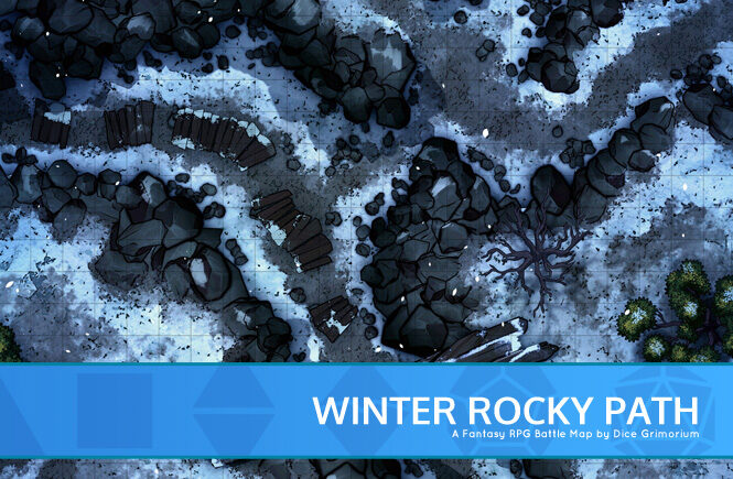 Winter Rocky Path Battle Map Banner