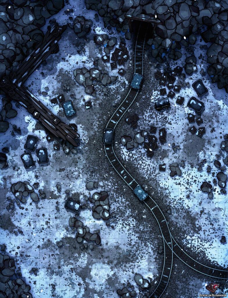 Snowy Mine Entrance Battle Map