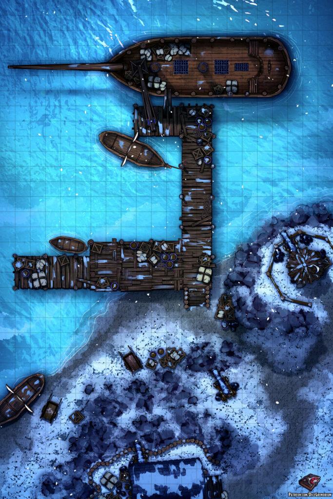 Snowy Harbor Battle Map