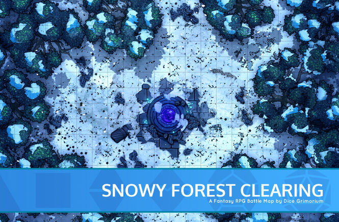 Snowy Forest Clearing D&D Battle Map Banner
