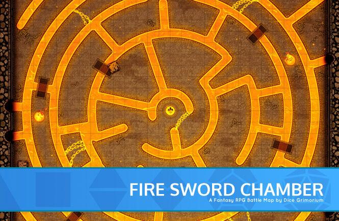 Fire Sword Chamber D&D Battle Map Banner