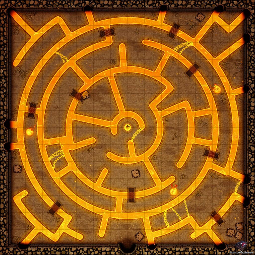 Fire Sword Chamber D&D Battle Map