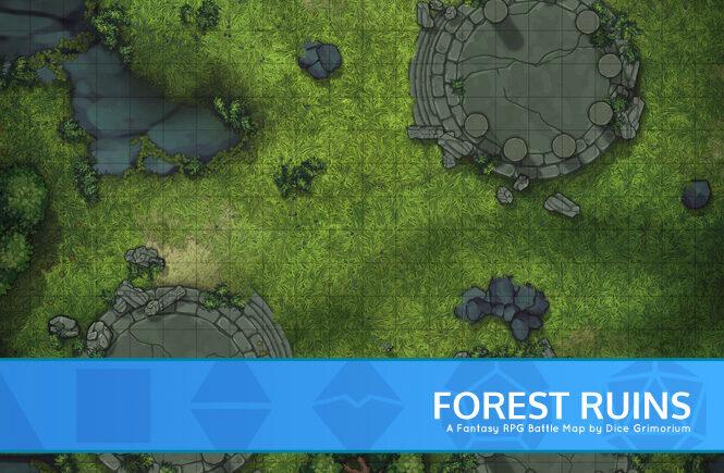 Forest Ruins D&D Battle Map Banner
