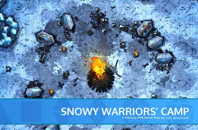 Snowy Warriors Camp D&D Battle Map Banner