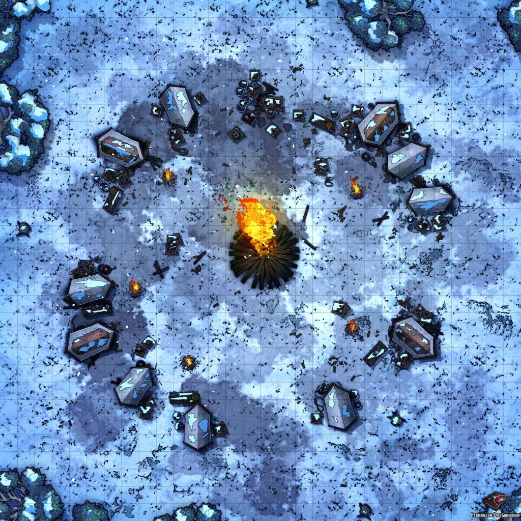 Snowy Warriors Camp D&D Battle Map