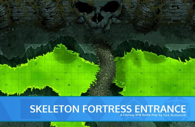Skeleton Fortress Entrance D&D Battle Map Banner